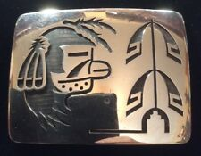 Vintage Sterling Hopi Belt Buckle By Hubert Yowytewa. RIP 1991