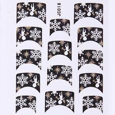 Nail Art Decal Stickers Glitter Nail Tips Christmas Angel Snowflake Winter JC018