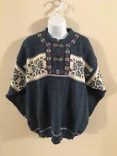 Nordstrikk Wool Nordic Snowflake Pattern Sweater Blue Medium Ladies Double Clasp