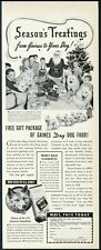 1941 Samoyed dog sled team cute photo Gaines Meal dog food vintage print ad