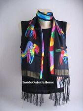 Laurel Burch Silk SCARF Wrap Rainbow Horses on Black Fringe NEW Retired