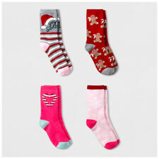 4 Pairs Cat and Jack Santa Claus Girls Crew Socks Fits Shoe Size L 3-10 NEW