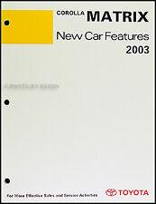 2003 Toyota Matrix Features Service Training Manual