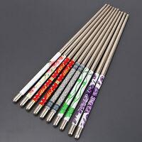 5 Pairs Stainless Steel Chopsticks Anti-skip Chop Sticks Set Assorted Home Gift