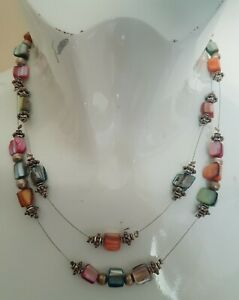 Vintage Multicoloured Mother Of Pearl Necklace Costume Jewellery