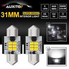 CANBUS ERROR FREE 31MM LED License Plate Lamp Side Marker Dome Map Bulb White X2
