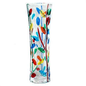 Murano Glass Vase Multi Coloured Flower Hand Made Millefiori 19cm High