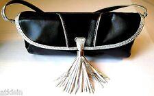 New KATE LANDRY Evening Purse Clutch BLACK & METALLIC SILVER Tassel & Key Clip