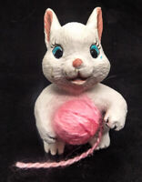 White Bunny with a Ball of Pink Yarn Figurine