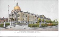 State House and Hooker's Statue Boston MA vintage postcard postally unused
