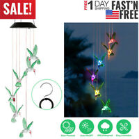 Solar Color-changing LED Hummingbird Wind Chime Decor Hanging Lights Outdoor US