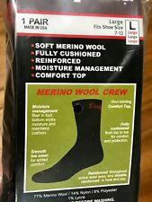 1 Pair Men's Black MERINO WOOL Snap On Crew Socks L ~ FREE Shipping MADE IN USA