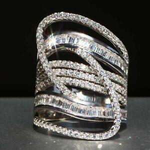 Interlace Engagement Wedding Brilliant Ring 2.68Ct Round Diamond 14k White Gold