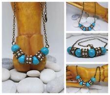 Collar artesanal,cuentas tejidas y turquesas,Vintage/Necklace handmade,turquoise