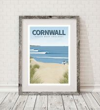 A3 Surf Cornwall Retro Arte viajar cartel impresión Vintage