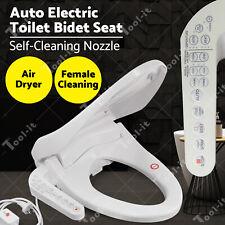 Electric Bidet Toilet Seat Cover LED Night Light Auto Smart Wash w/Control Panel