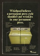 1973 WHIRLPOOL APPLIANCE PRINT AD~CLOTHES WASHER & DRYER~GREEN~HOME APPLIANCES
