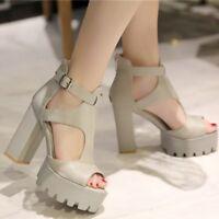 Women's Super Block High Heel Sandals Peep Toe Ankle Strap Platform Party Shoes