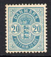 Denmark 20 Ore Stamp c1884-88 Mounted Mint (2256)