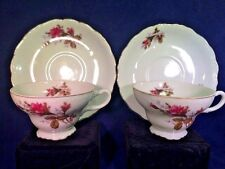 Vintage Four Piece Moss Ross Porcelain Tea Cup and Saucer Set
