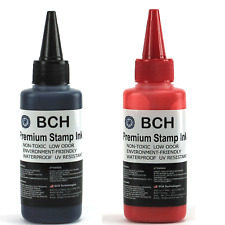 BCH Premium Stamp Ink Refill for Stamps or Stamp Pad BLACK RED COMBO 2.5 oz Each