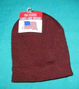 Artex  Fleece line  Beanie -  Made in USA - Knit Hat -  Burgundy