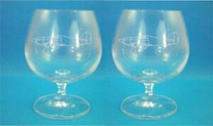 Pair of Bohemia Crystal Brandy Glasses With Hawker Hurricane Design