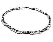 Oxidize Antique Finish Sterling Silver  St Peter Fisherman Bracelet 9 inches