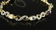 Vintage Sterling Silver 925 Jewelry 18KT Gold Wash Gemstone Infinity Bracelet