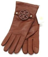 NEW Tory Burch MILLER Leather Gloves in Brown, Navy or Burgundy