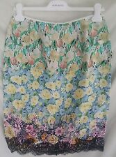 NWT $1290 Nina Ricci Floral Skirt 100% Silk  Size 40