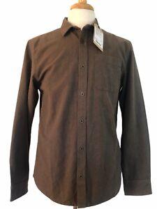 Men's PrAna Brown Medium Woodman Button Down Flannel Organic Cotton Shirt NWT