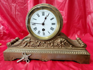 French Arch Top Metal Case Mantle Clock Having Porcelain Dial