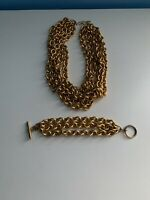 Vintage Monet Heavy Chunky 5 Strand Gold Link Chain Necklace And Bracelet Set