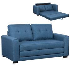 Divano letto 2 posti in tessuto Lino Imbottito e legno colore Blu 152x73x81 cm