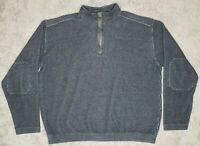 Woolrich Heavy 1/4 Zip Pullover Sweater Mens L Elbow Patches Cotton Slate Gray