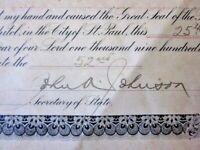 1909 John A. Johnson Minnesota Governor Hand Signed Certificate Seal SUPER RARE