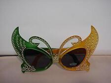 Mardi Gra Mascarade Green Gold  Sunglasses Cat Eye New