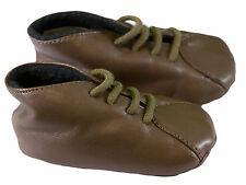 JACADI Boy's Brown Leather  Slippers  Age 1 Months Size 16 NWOT $34