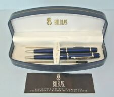 Bill Blass Blue Chrome Pen & Pencil Set with 2 ink refills ~ New in Display Box