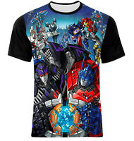 aa2b01fa NEW TRANSFORMERS OPTIMUS PRIME FRONT BACK ALL OVER FRONT PRINTED GRAPHIC  T-SHIRT