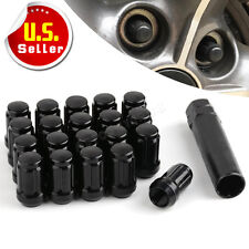 "20 Black 6 Spline Tuner Wheel Lug Nuts 1/2""-20 + Key fits Jeep Ford 5X5, 5X4.5"
