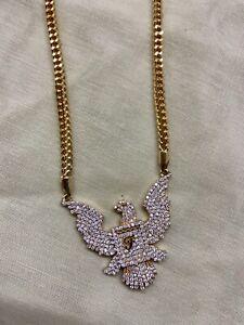 "FINE EAGLE DIAMOND & GOLD NECKLACE W GOLD CHAIN INITIAL ""F""  26.10GR L=26"""