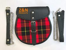 Scottish Kilt Sporran, Buckle with Red Plaid, Cowhide Real Leather + Belt