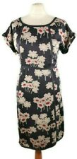 Boden Size 14 Blue Grey Red Round Neck Pure Silk Floral Dress Party Midi NEW