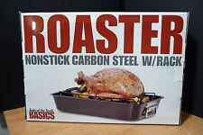 ROASTING PAN NON STICK CARBON STEEL  BY BASICS TOOLS OF THE TRADE 18.5x13x13 NEW