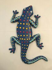 """Resin Colorful Blue Lizard Southwestern Wall Hanging 12"""""""