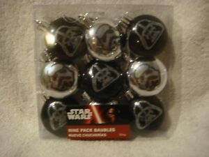 Star Wars  Christmas tree decoration pack 9 baubles in black & silver