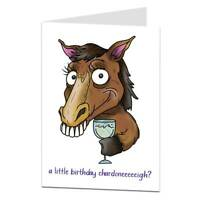 Funny Horse Birthday Card For Adults Wine Alcohol Theme