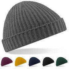 Men Women Knit Plain Beanie Cap Ski Hat Solid Casual Winter Hats Caps Black AU